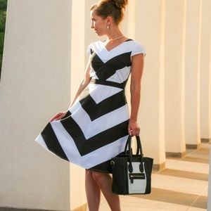 eShakti Chevron Stripe Poplin Dress